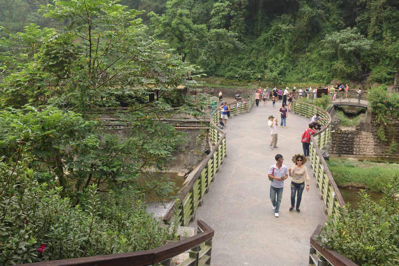 Back at the bridge fronting the first Liangshan Waterfall