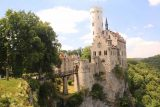 Lichtenstein_Castle_067_06232018 - Broad view of the Lichtenstein Castle showing the empty moat and bridge leading to it