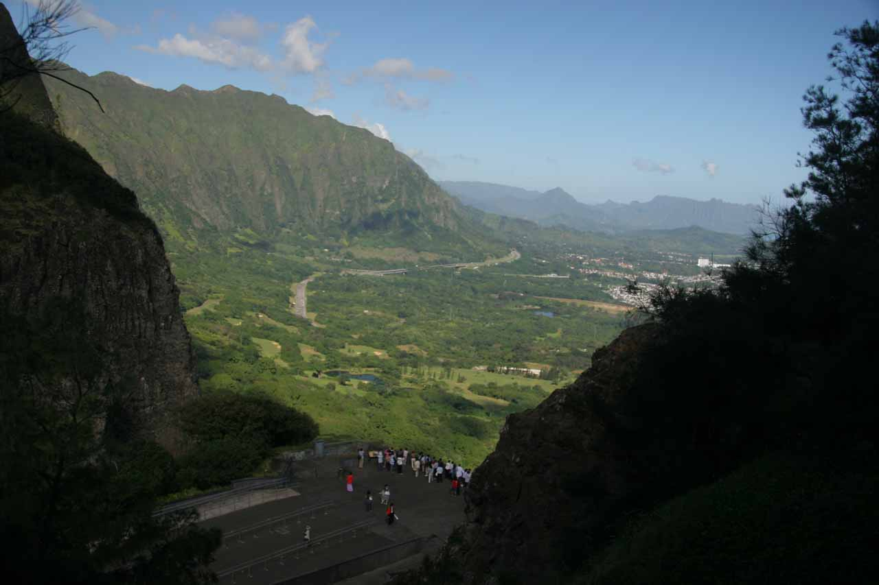 The Pali Lookout, which seemed to be the obligatory stop for just about every visitor to O'ahu driving the Pali Highway
