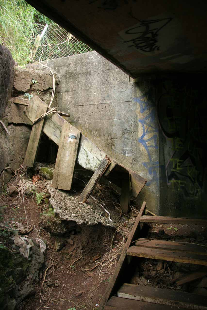 The rickety steps going underneath the highway
