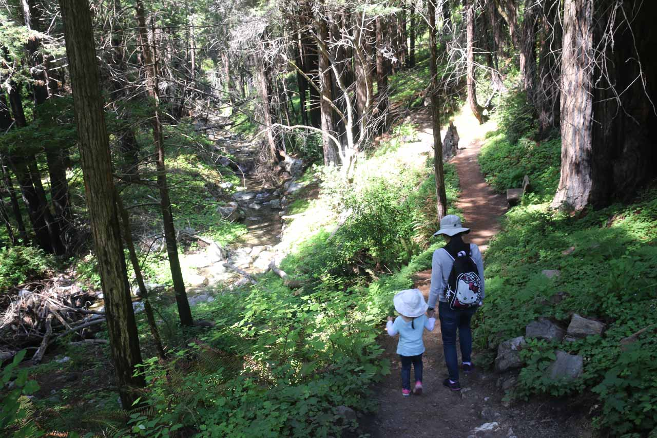 Julie and Tahia continuing on the main trail
