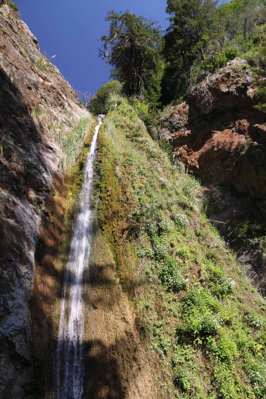 Direct look at one of the two split drops of Limekiln Falls
