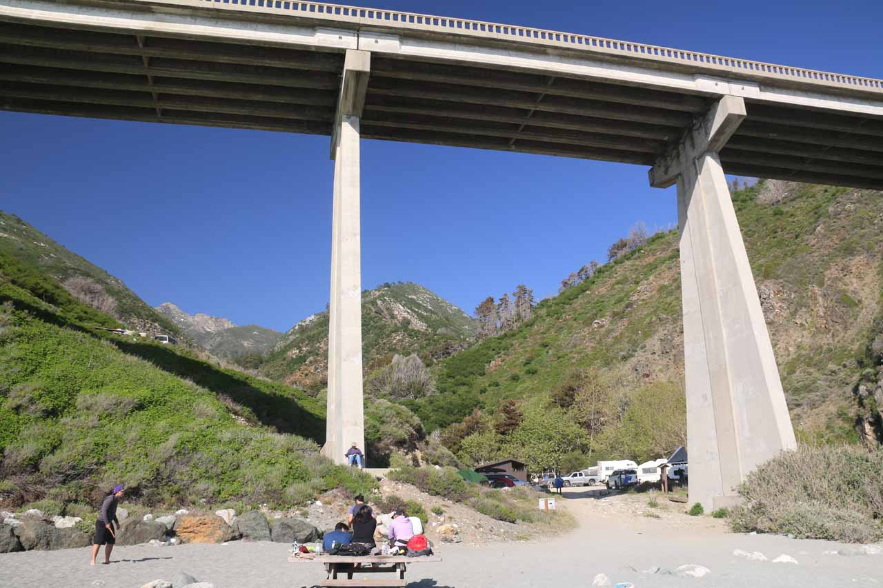 Looking back at Hwy 1 and some folks picnicking from Limekiln Beach