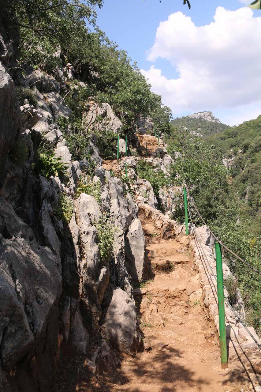 On the narrow cliff-hugging trail to Cascada de Linarejos along the Rio Guadalquivir Gorge