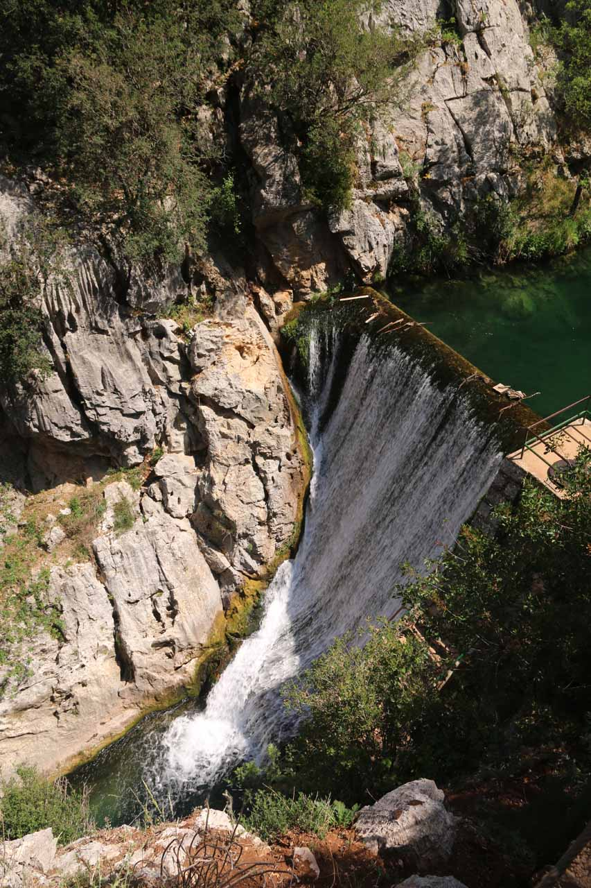 Looking down at the man-made waterfall on the Guadalquivir River that made all the noise