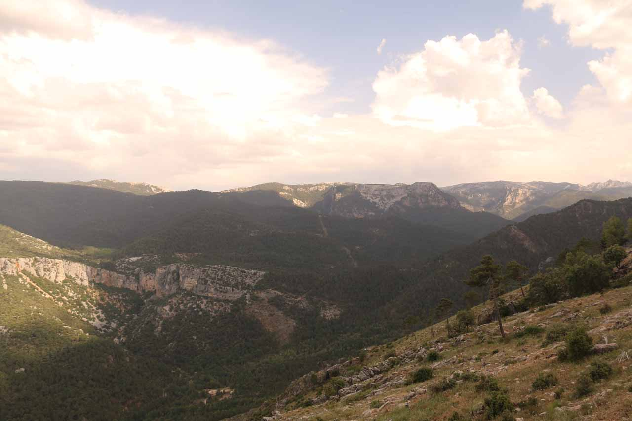 Looking towards a panorama partially cast in cloud shadows from a mirador on the way back to Cazorla