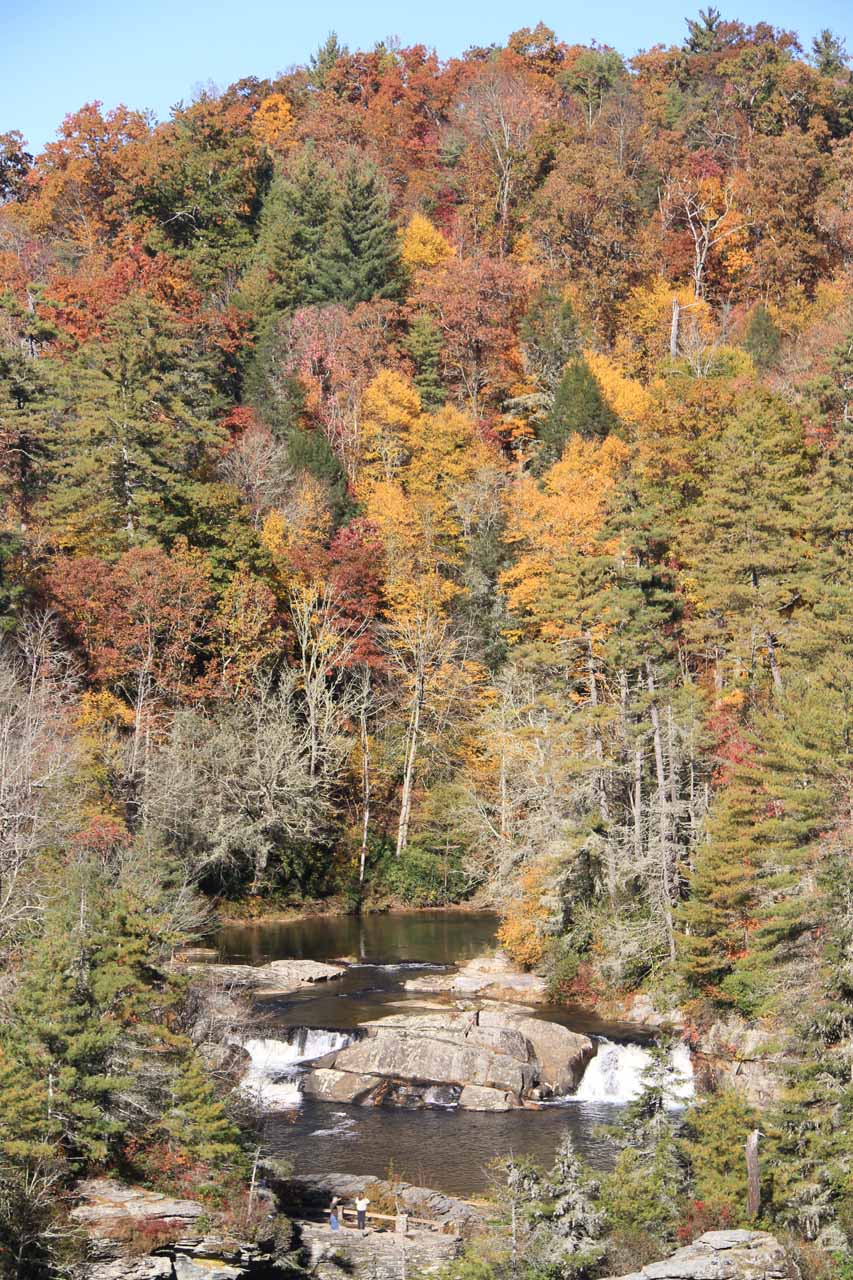 Autumn colors backing the Upper Falls from the Chimney Rock Overlook