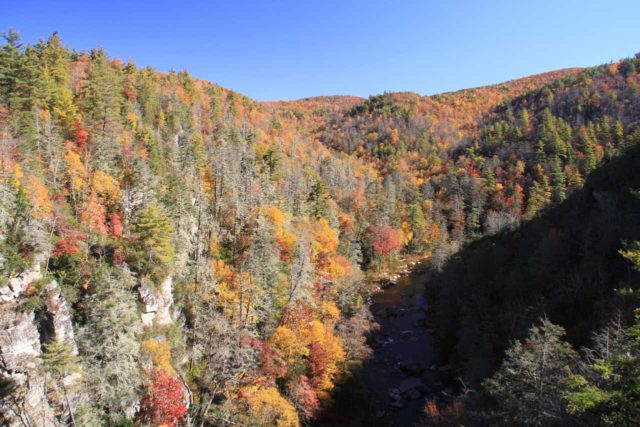 Linville_Falls_032_20121019 - Looking downstream into the Linville Gorge where Autumn colors were just about to be peaking