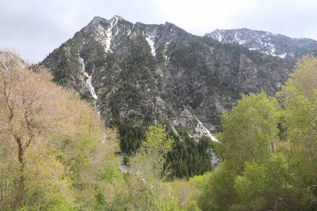 Looking back across Little Cottonwood Canyon from the base of Lisa Falls towards some peaks