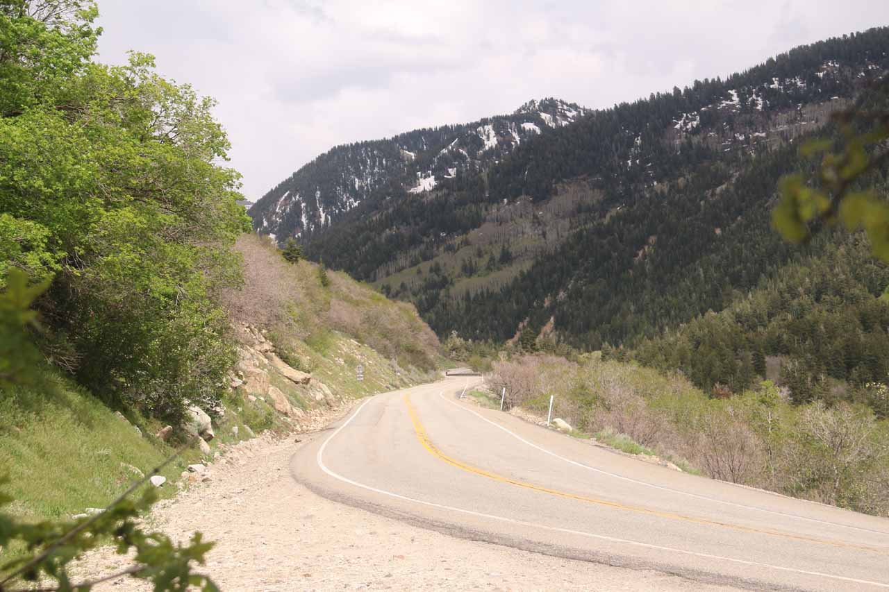 Back at the unsigned pullout by the Lisa Falls Trail where I got this look at Little Cottonwood Canyon Road continuing its uphill climb