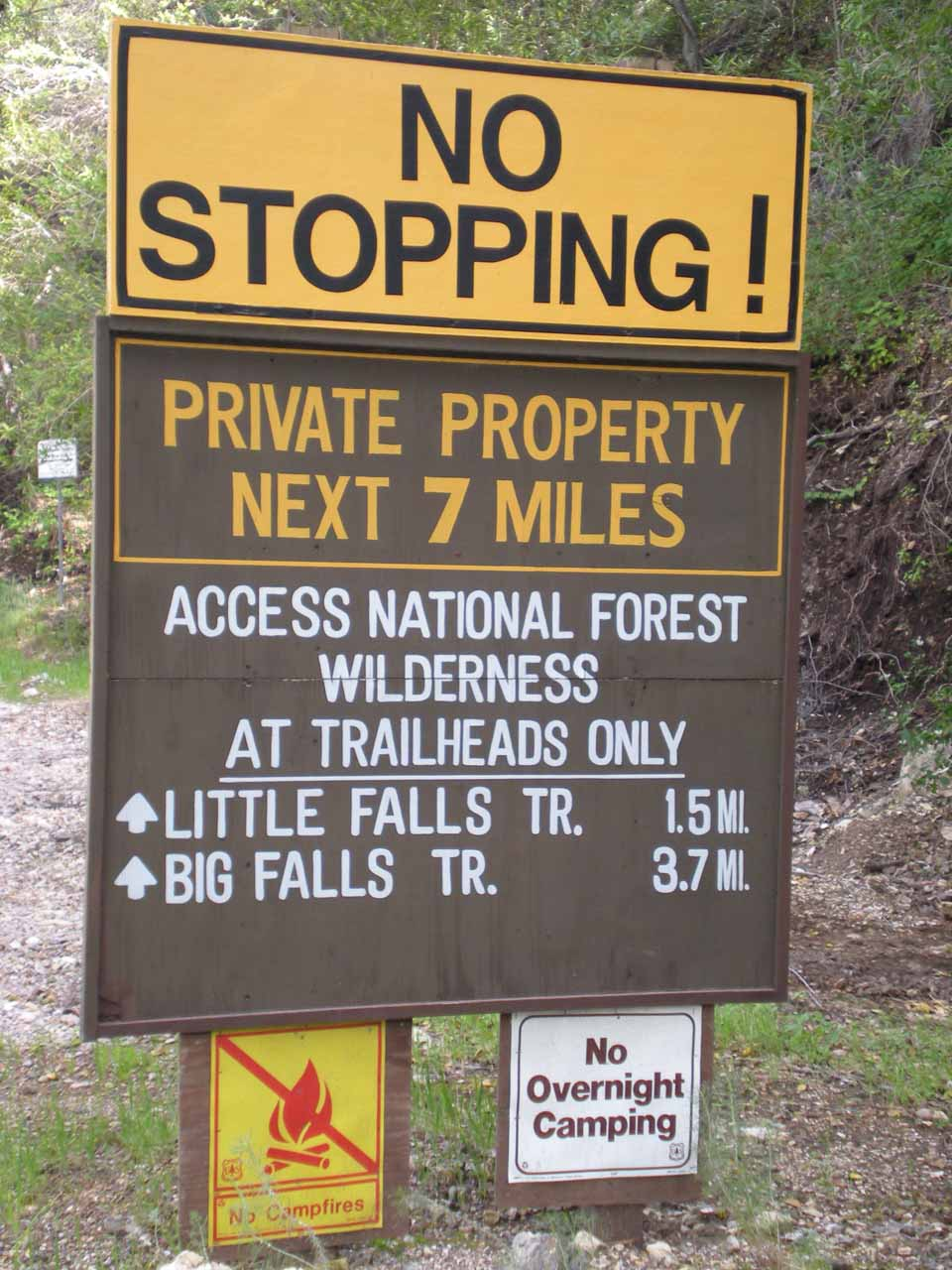 Sign preceding the creek crossings on Upper Lopez Creek Road