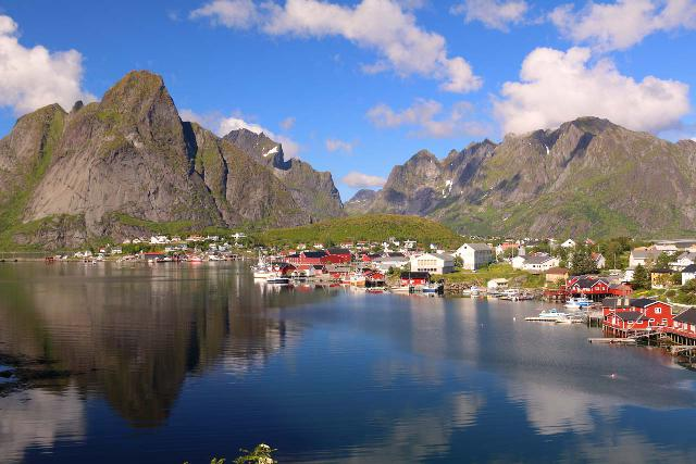 Lofoten_428_07032019 - The Sørvågen Waterfall provided us with the perfect excuse to explore the Lofoten Islands and get panoramas like this one towards the fishing village of Reine