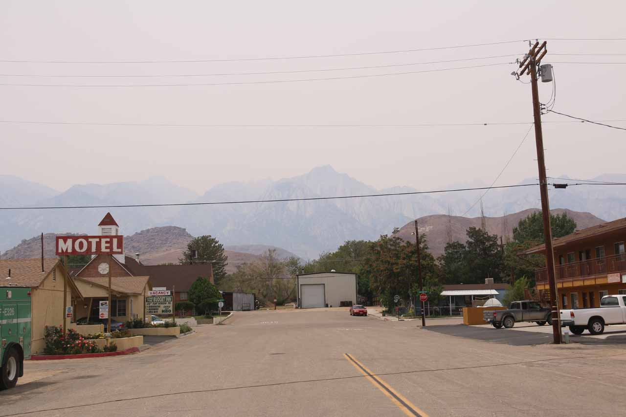It was very hazy at Lone Pine, and I'd imagine that haze was the result of a wild fire in the Sierras somewhere