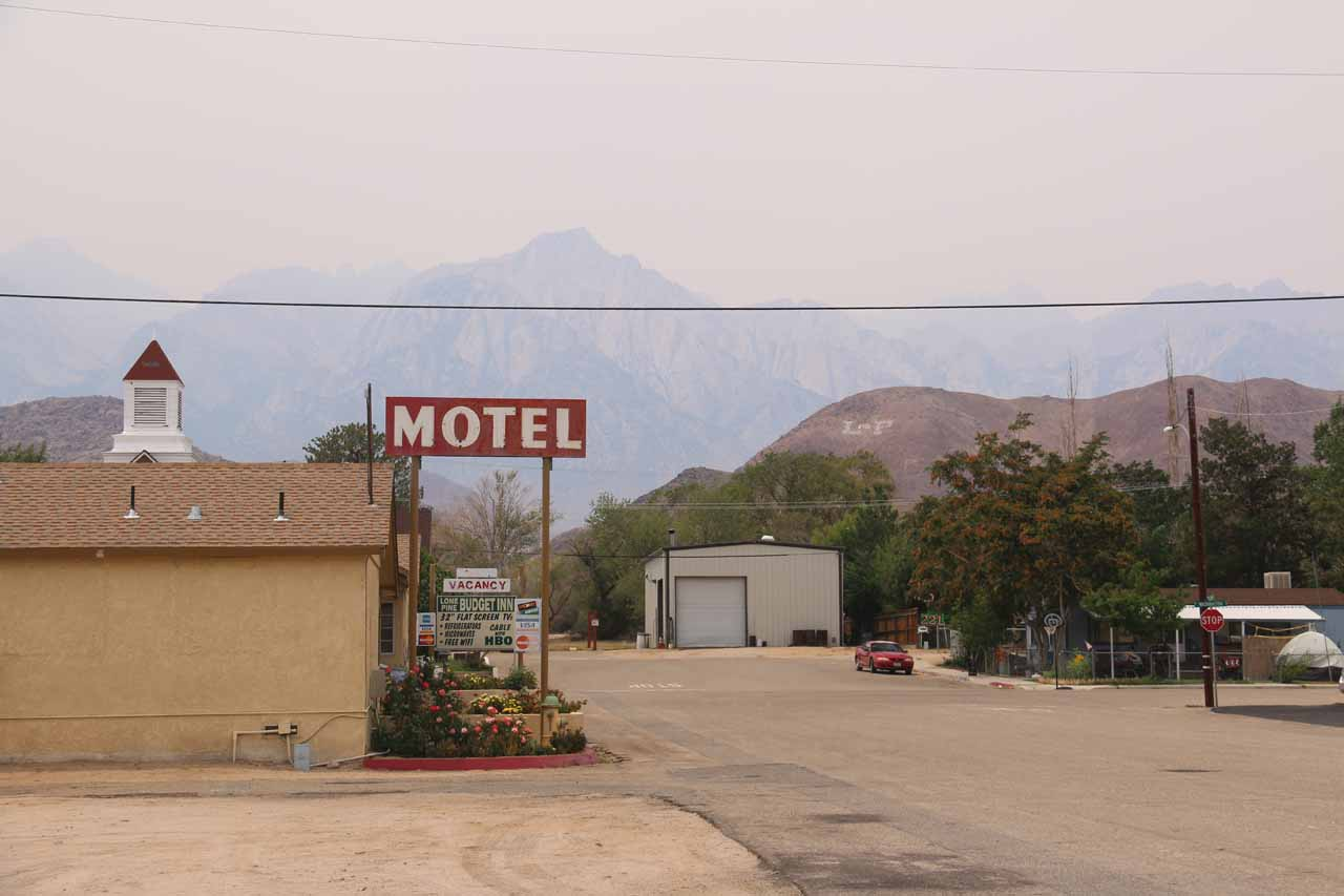 Another hazy look towards the mountains backing Lone Pine as seen from the taco truck Tacos Los Hermanos