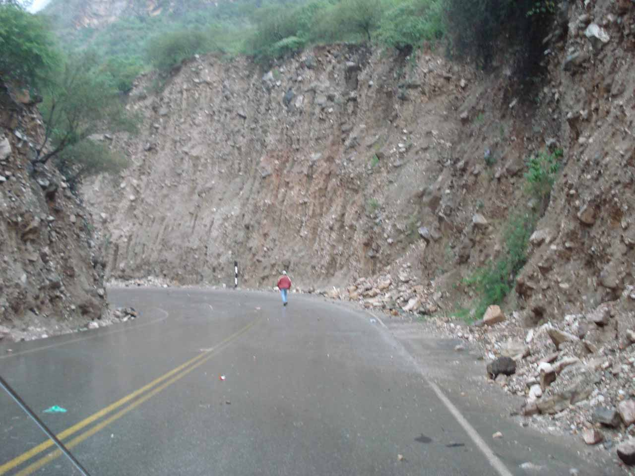 Checking for rock slides around the bend