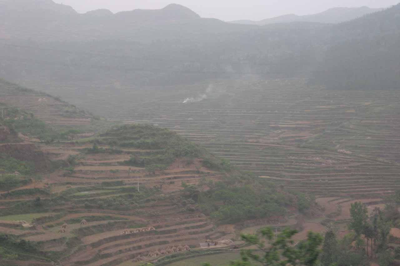 On our way to the Dragon Palace Caves from Guiyang, we were on a road that afforded us views of these attractive terraces which I believed cultivated rice or taro