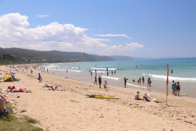 Lorne_014_11182017 - This was the beach at the coastal town of Lorne along the Great Ocean Road, which was very busy when we were here as the gorgeous weather really brought out the beachgoers