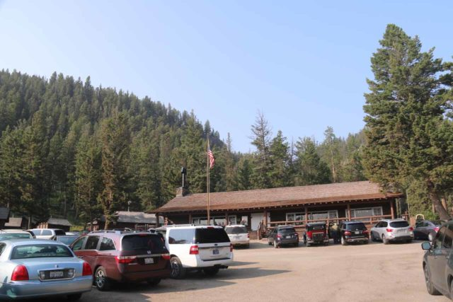 Lost_Creek_Falls_001_08102017 - Looking back at the parking lot in front of the Roosevelt Lodge before starting my August 2017 hike to the Lost Creek Falls