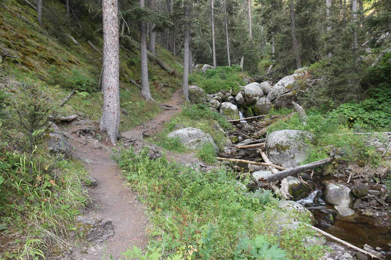 The trail eventually started to skirt alongside Lost Creek