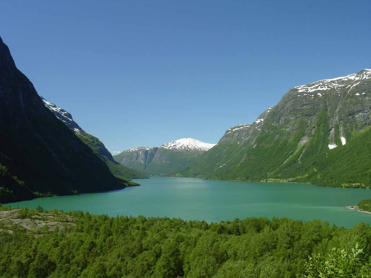 Looking back at the lake Lovatnet from our suboptimal vantage point for Ramnefjellsfossen