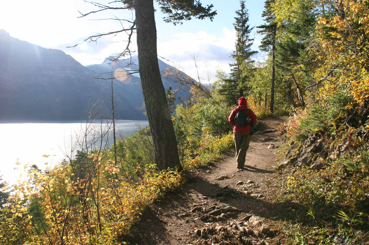 It didn't take long before the trail skirted Waterton Lake