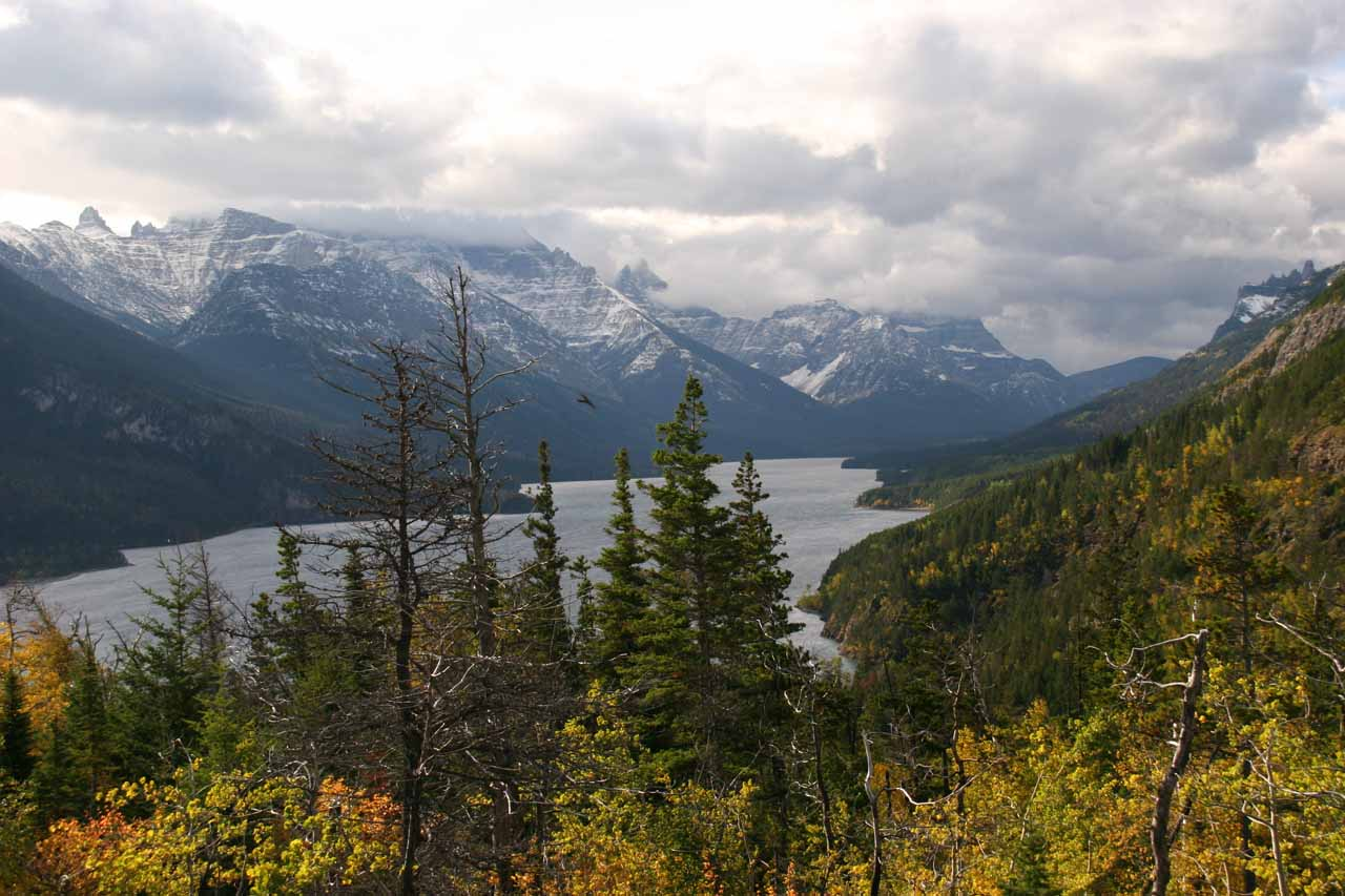 Contextual view of the scenery at Waterton Lake from the Lower Bertha Falls Trail