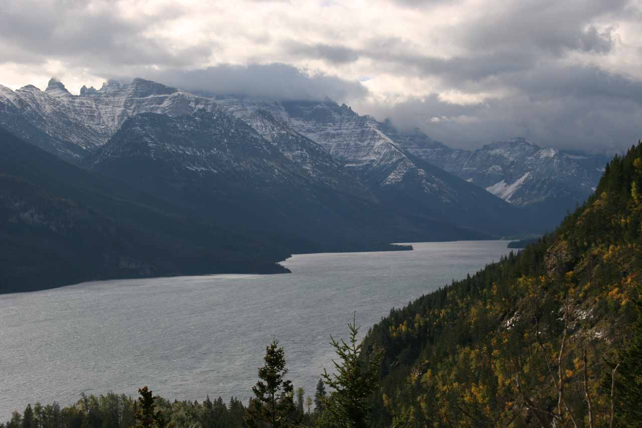 Open view of Waterton Lake from the Lower Bertha Falls Trail