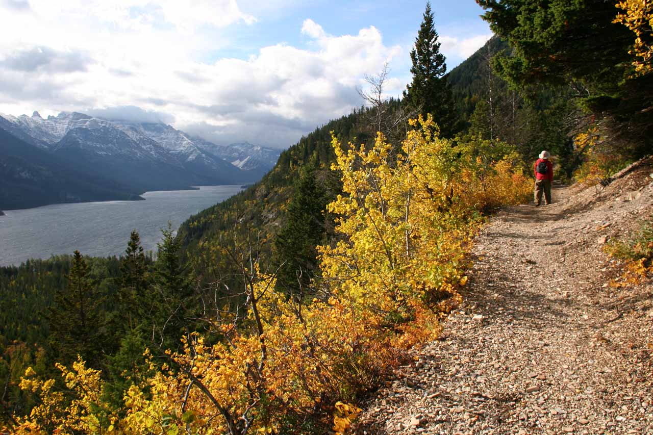 Julie on the trail as Waterton Lake remained in sight the whole way