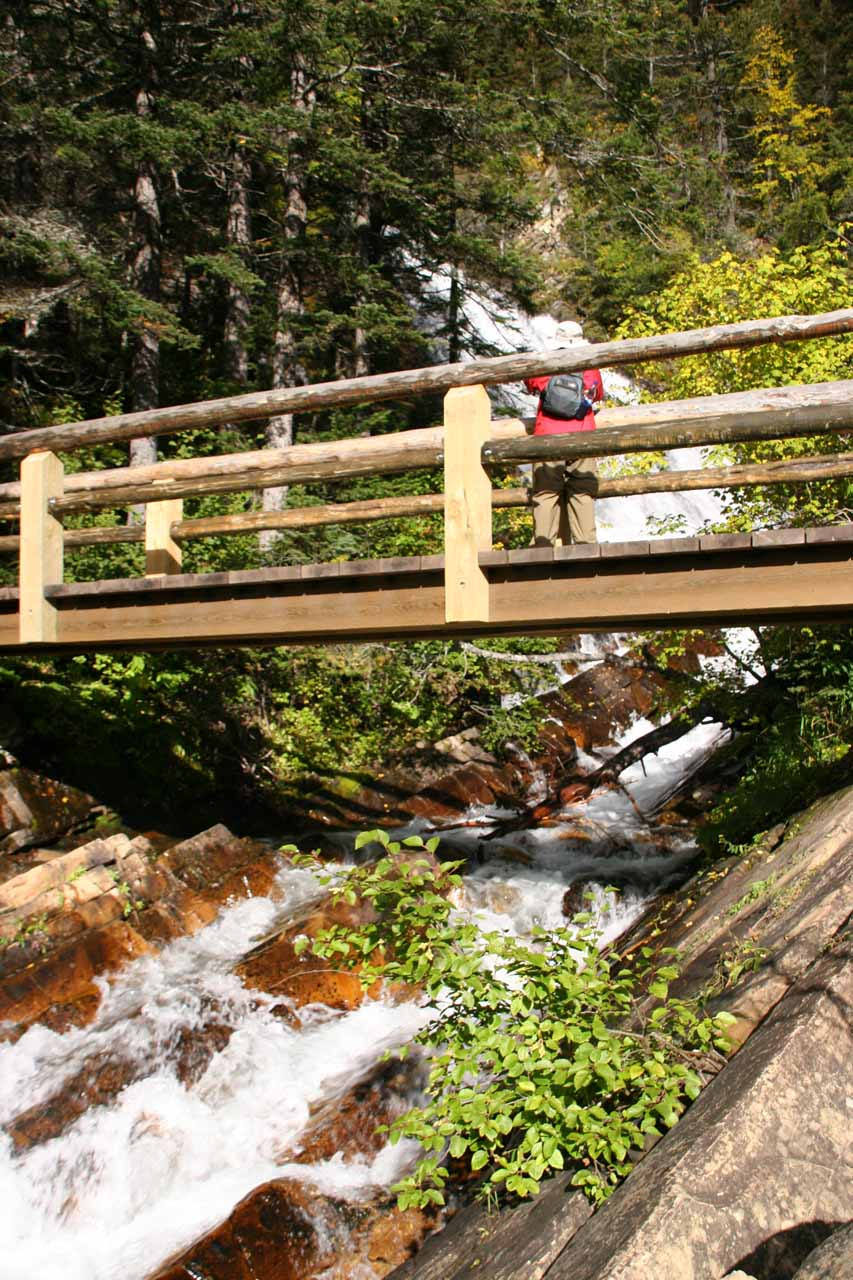 The footbridge at Lower Bertha Falls
