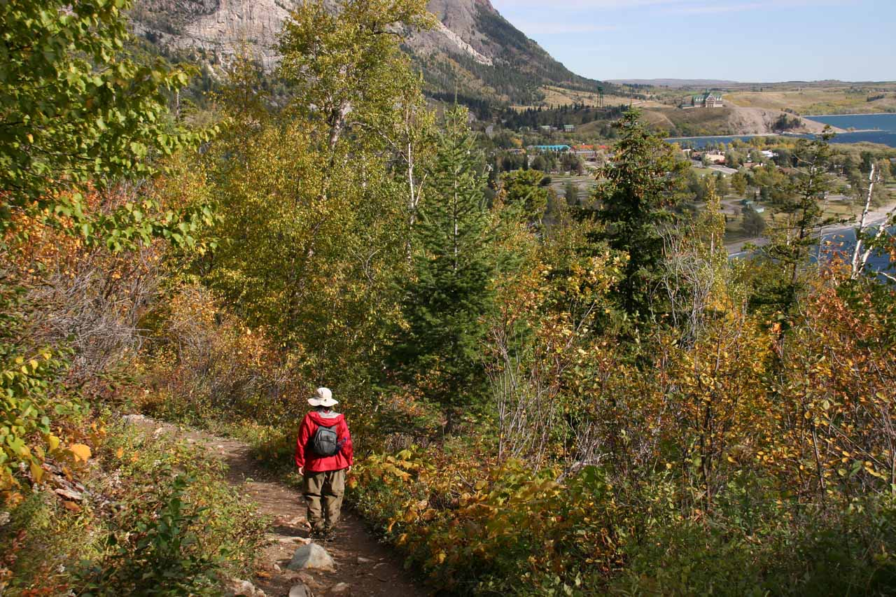Almost back at the trailhead as we could see Waterton town up ahead
