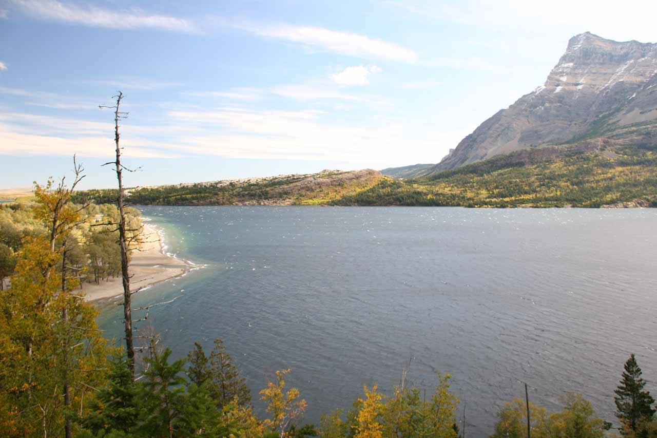 Looking to the mouth of Waterton Lake as we were almost back to the trailhead