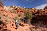Lower_Calf_Creek_Falls_18_037_04022018 - Mom continuing to hike along the Lower Calf Creek Falls Trail as she was surrounded by red cliffs and walking on red sand during our April 2018 visit