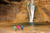Lower_Calf_Creek_Falls_18_157_04022018 - The kids not minding the icy cold plunge pool of Lower Calf Creek Falls at all during our April 2018 visit