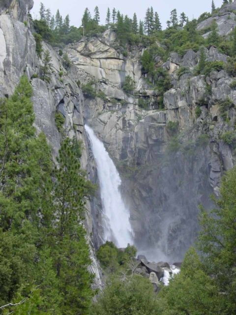 Lower_Cascades_002_04292005 - Context of Cascade Falls as seen from perhaps its more familiar and official lookout just east of the west entrance to Yosemite
