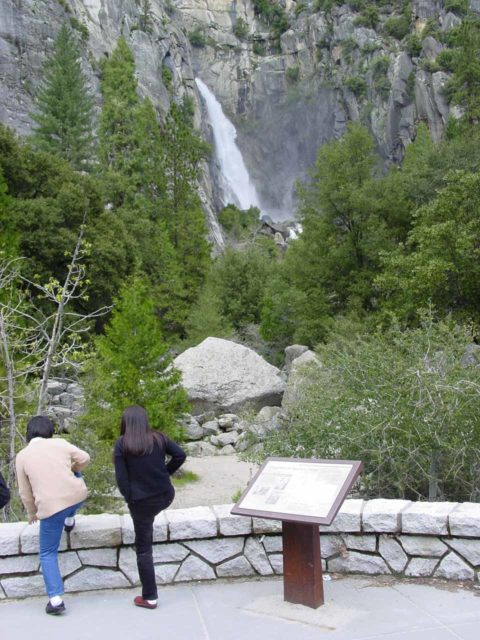 Lower_Cascades_003_04292005 - Context of the official viewpoint and interpretive sign along the Hwy 140 east of the Arch Rock Entrance to Yosemite