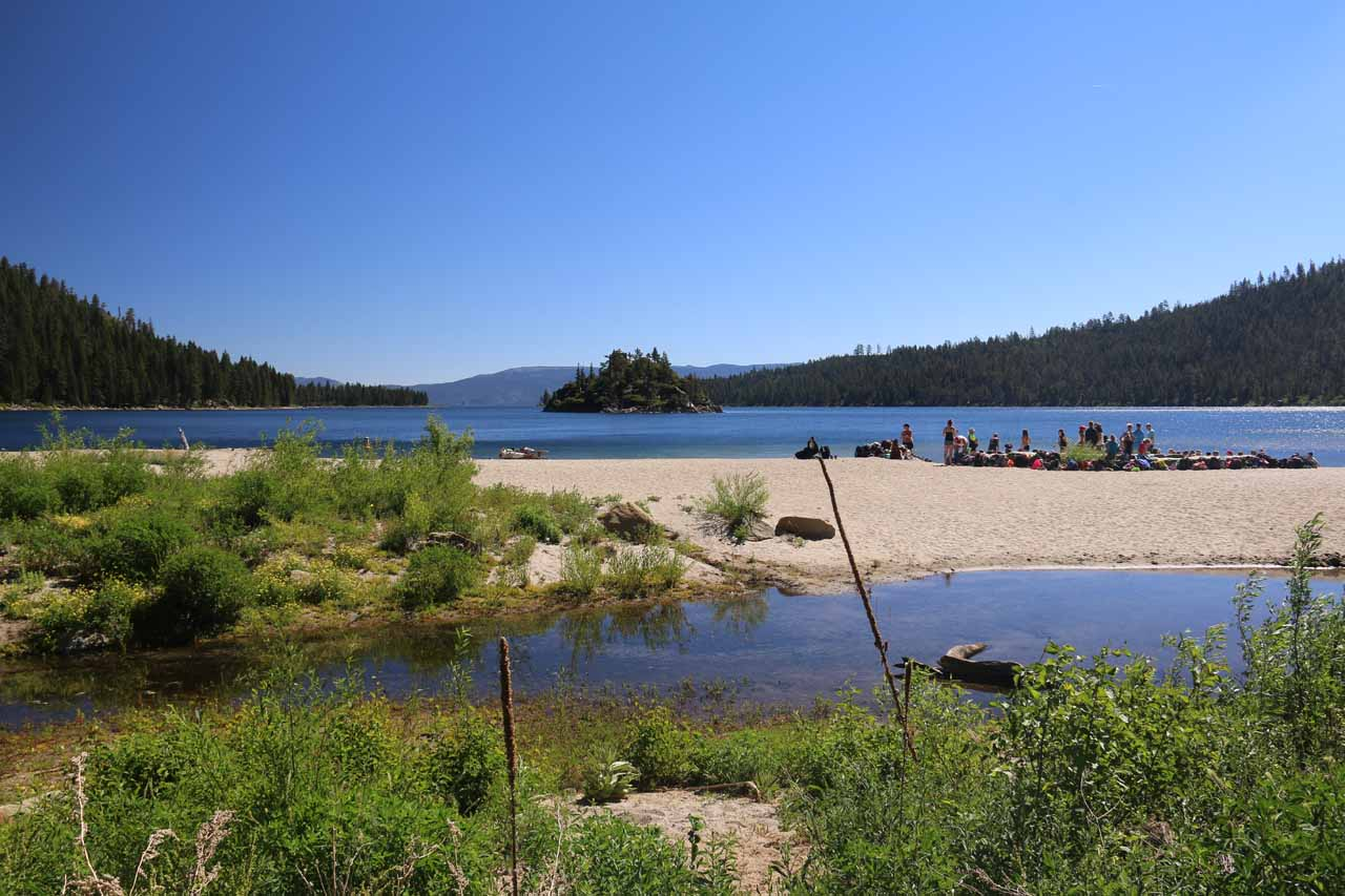 On the shores of Emerald Bay, where not only were people enjoying calm kayaks to Fannette Island, but there were beaches, swimming areas, and picnic tables to spend even more time down here