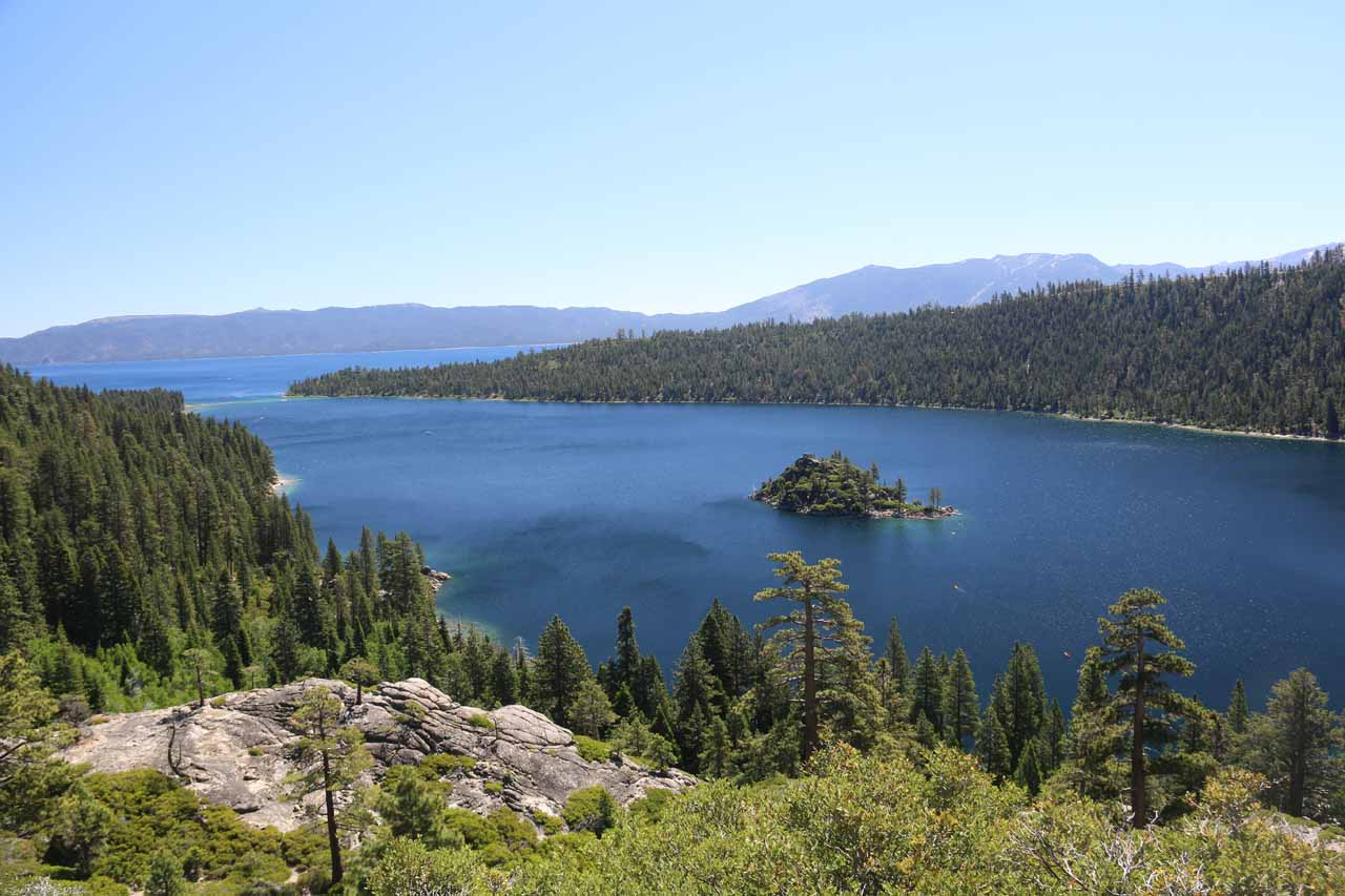 This was the view from atop the granite knob at the Emerald Bay Overlook, which as the name suggests, provided us with a commanding view of the sapphire blue water as well as Fannette Island