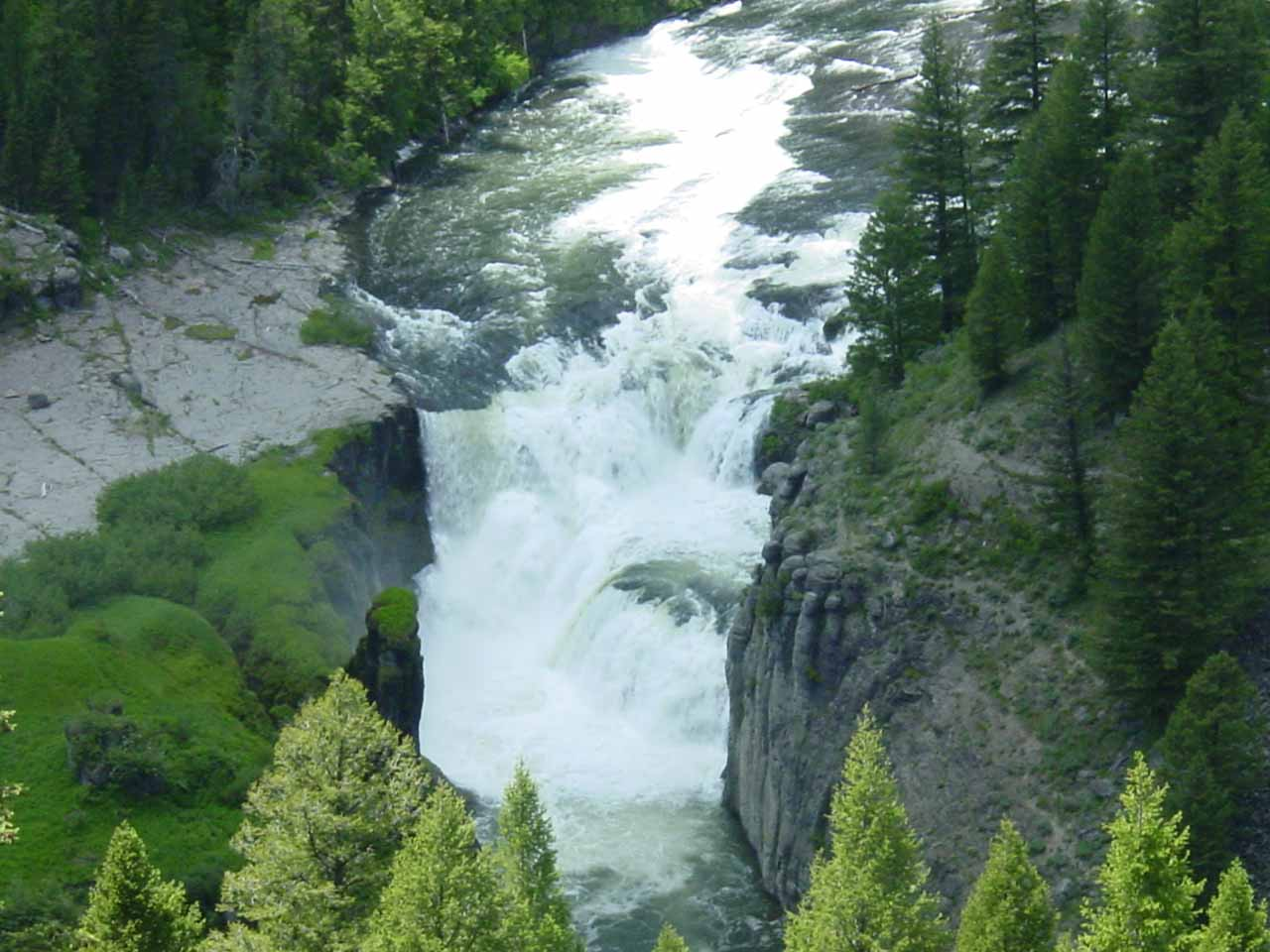 Zoomed in look at Lower Mesa Falls