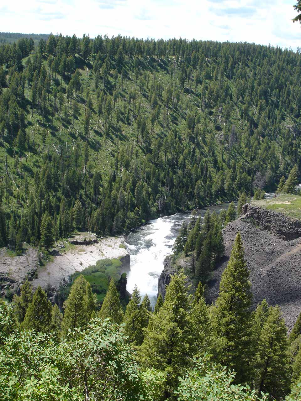 Distant view of Lower Mesa Falls