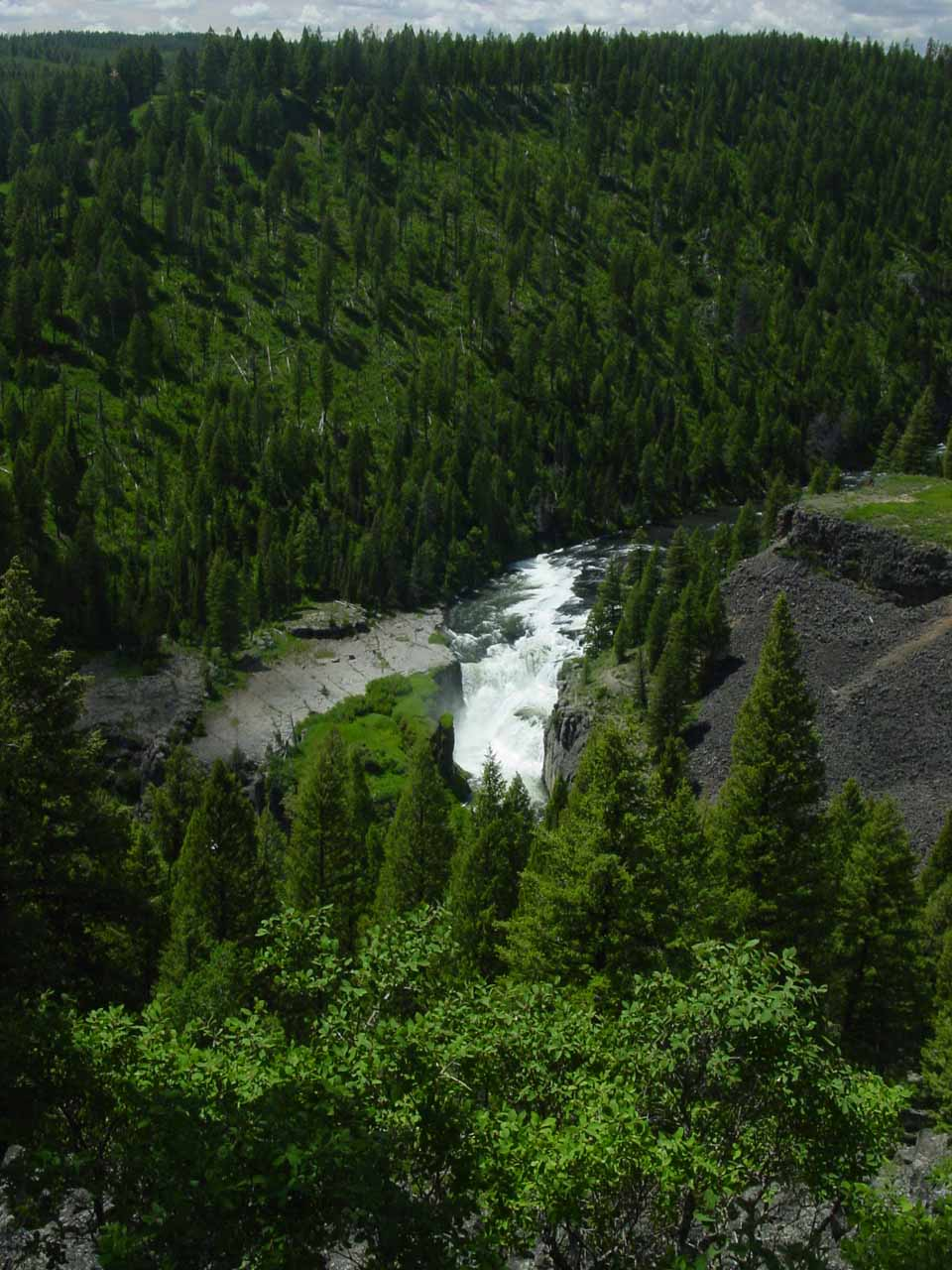 Contextual view of Lower Mesa Falls from back in June 2004