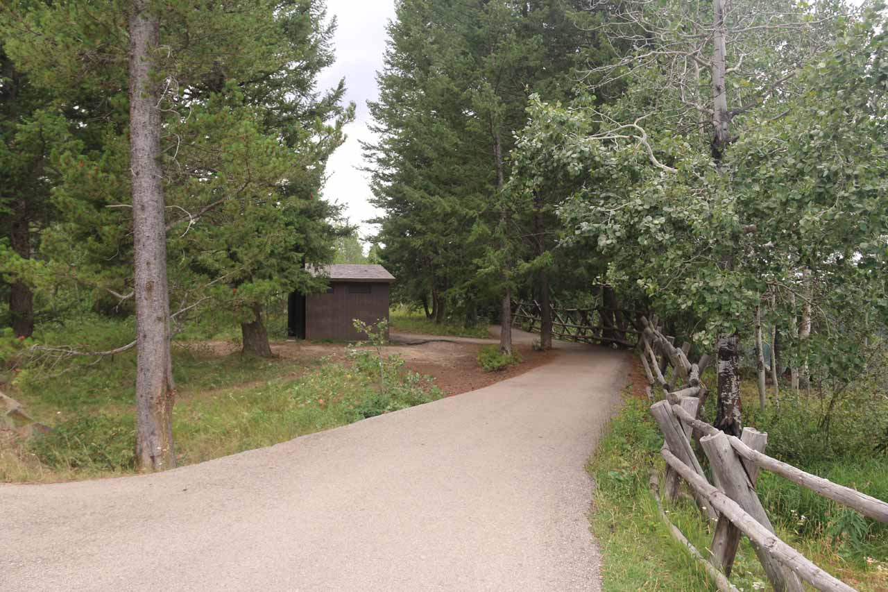 Following along the paved walking path (wheelchair-accessible) leading to the lookout for Lower Mesa Falls