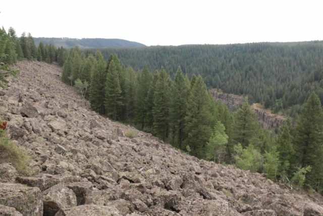 Lower_Mesa_Falls_17_009_08142017 - Slope consisting of jumbles of huge volcanic boulders related to the rhyolite tuff that gave rise to the Lower Mesa Falls