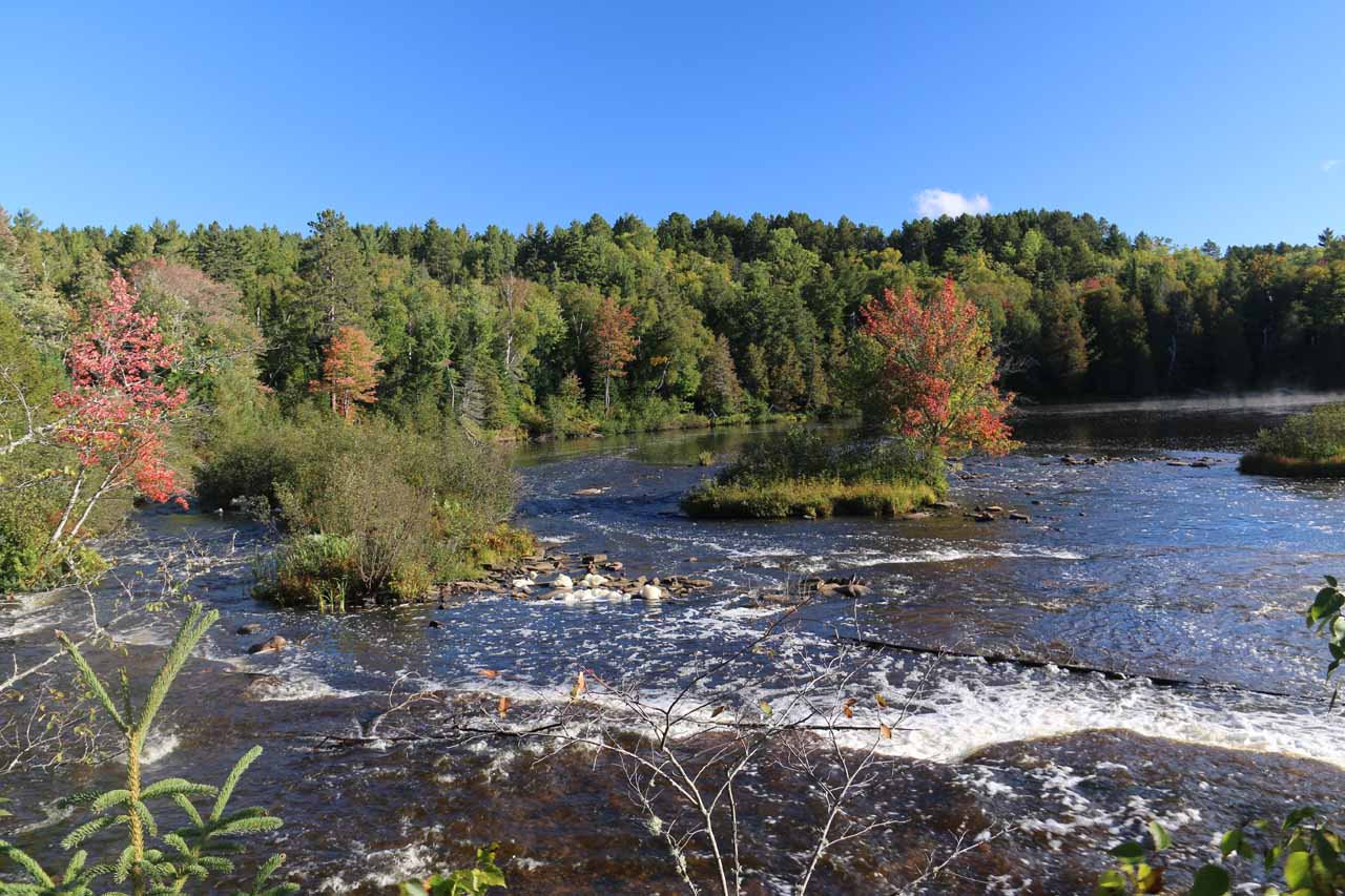 Looking down over the top of the last drop of the Lower Tahquamenon Falls towards a wide part of the Tahquamenon River with a scattering of some fall colors