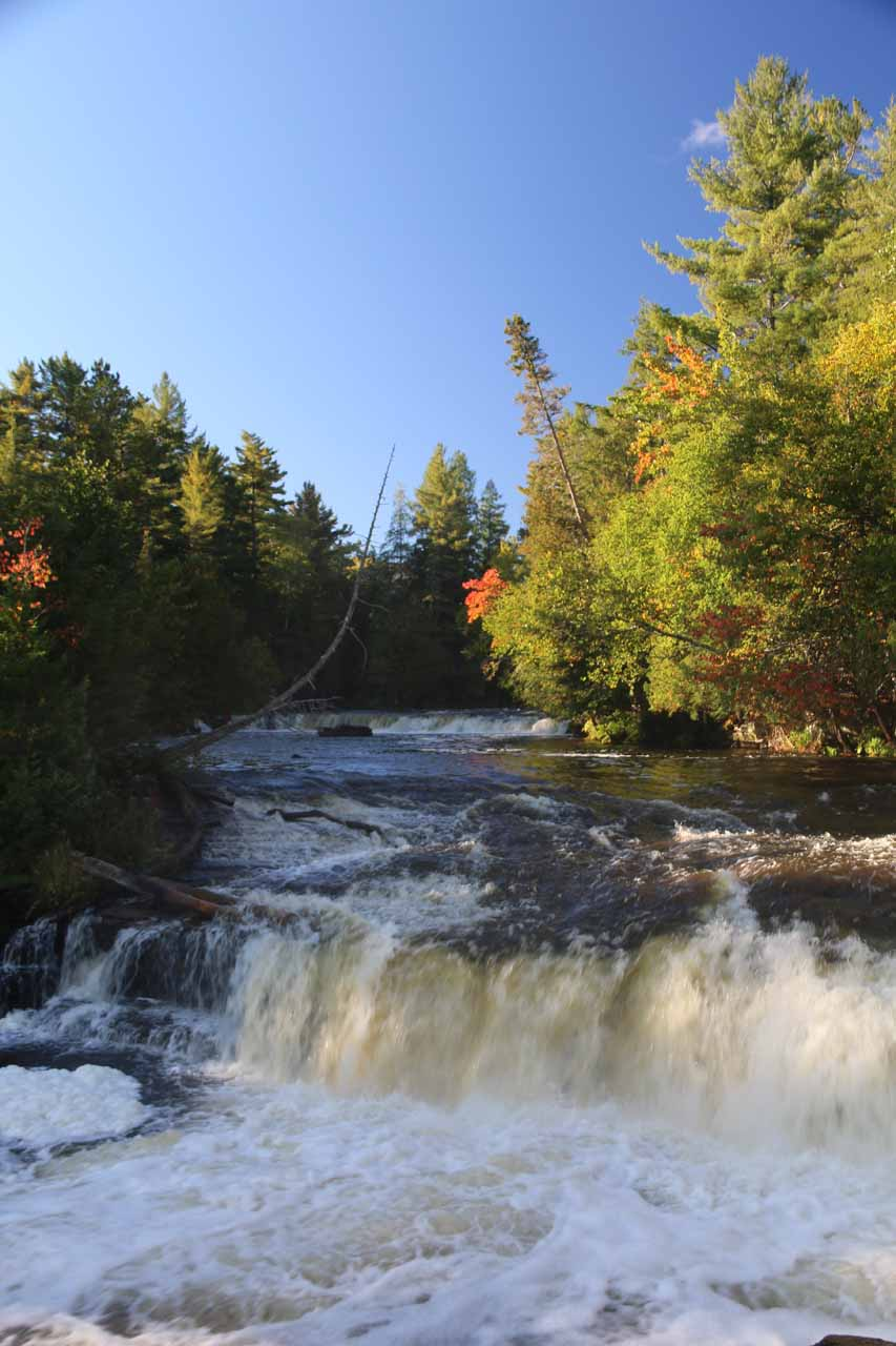 Looking directly up towards the upper two tiers of the right side of the Lower Tahquamenon Falls