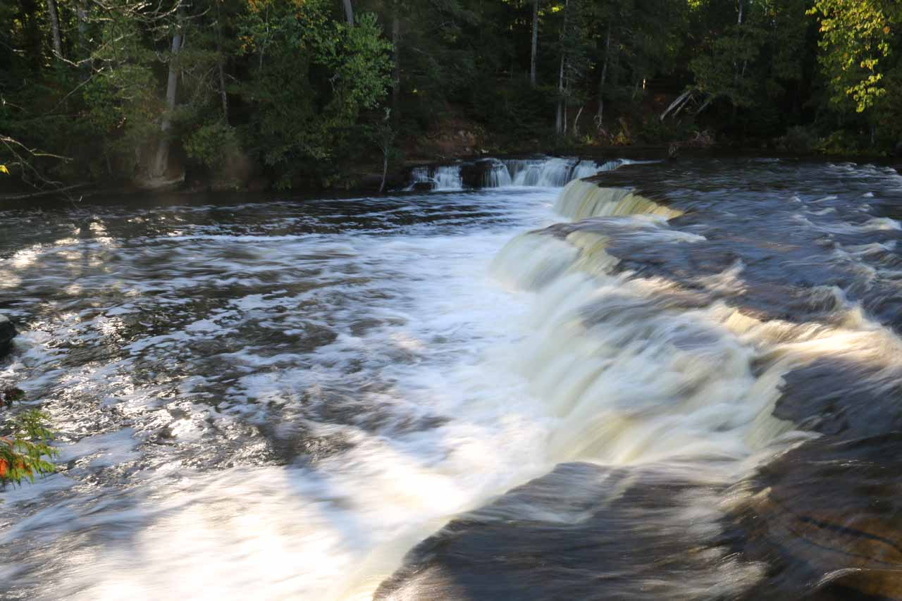 Looking across the uppermost drop of the Lower Tahquamenon Falls