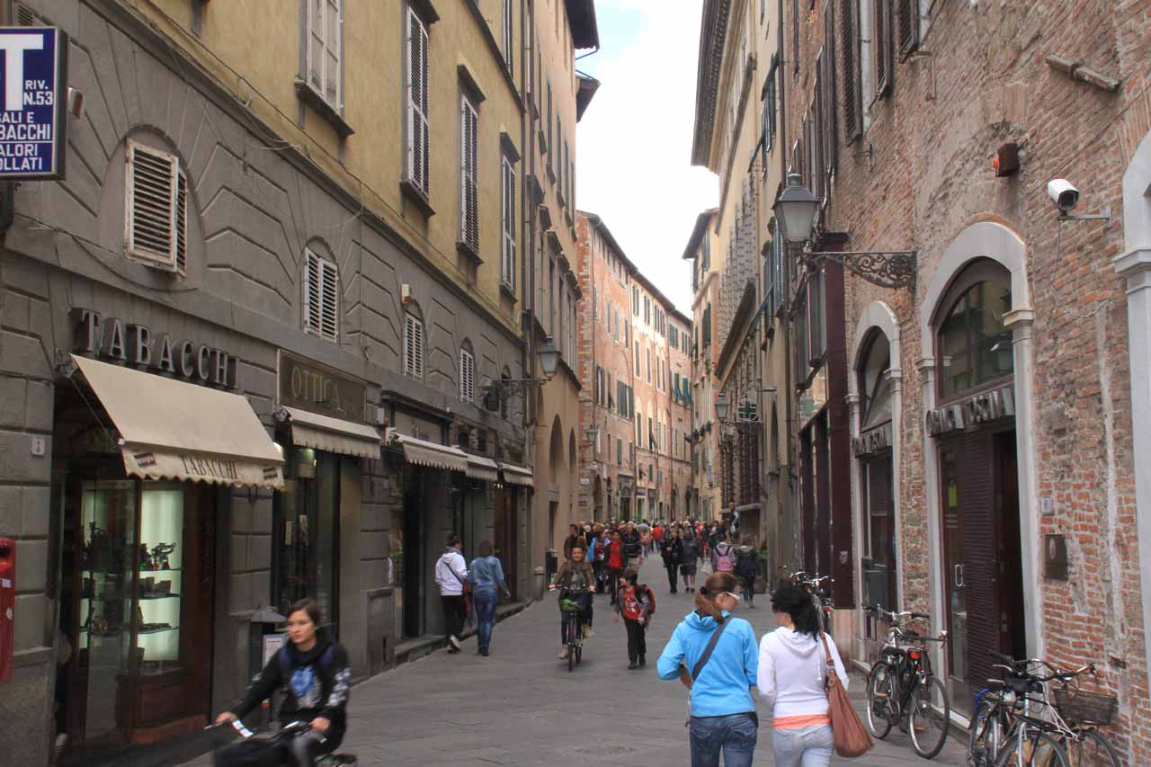 On the main thoroughfare in Lucca