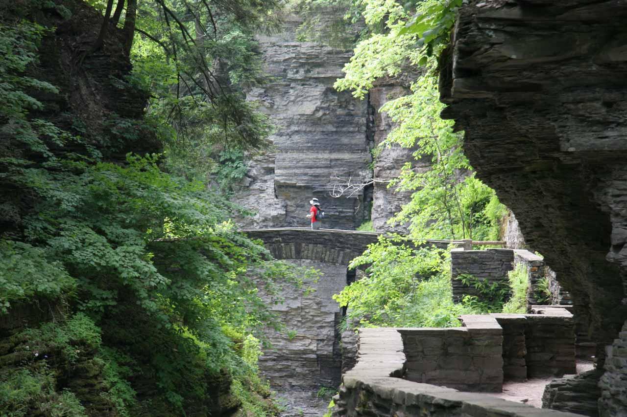 Looking up ahead at Julie crossing a bridge