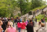 Ludwigs_Castles_212_06252018 - Another look at the very busy waiting area as all eyes were looking towards the monitors before knowing when to attempt to cross the turnstiles to get into the Neuschwanstein Castle