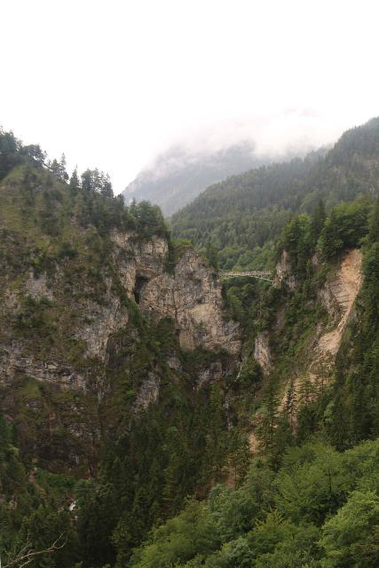 Ludwigs_Castles_251_06252018 - This was the view of Marienbrucke and the Poellat Gorge Waterfall from the western balcony at the end of our Neuschwanstein Tour