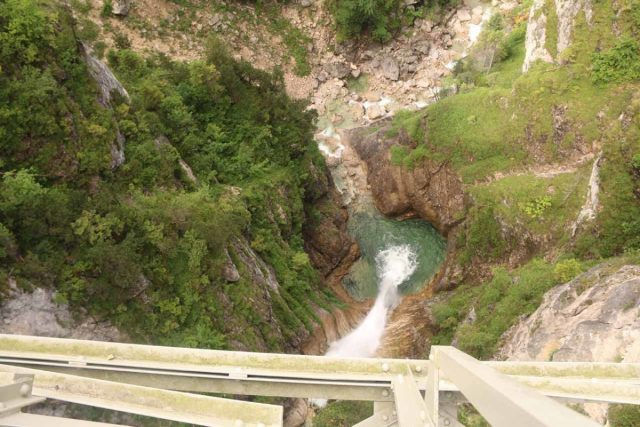 Ludwigs_Castles_408_06252018 - Looking down into the Poellat Gorge and the top of the Poellat Gorge Waterfall from the Marienbrucke